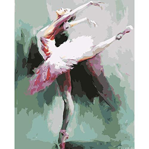 Painting-YC Malen Nach Zahlen Kits Mach Es Selbst Gemälde für Erwachsene Kinder Anfänger Rosa Ballett-Tanz-Mädchen 16×20 Zoll Kombination Rahmen