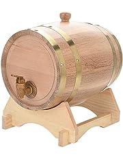 Barril de roble, barril de roble de 1.5/3/5/10 litros Barril de vino de madera de roble de roble de madera vintage para cerveza Whiskey Ron Puerto (5L)