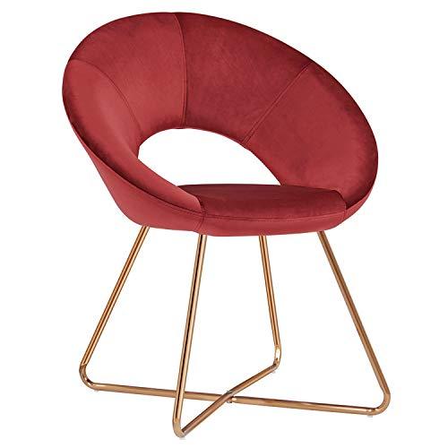 Duhome Silla de Comedor diseño Retro con Brazos Silla tapizada Vintage sillón con Patas de Metallo 439D, Color:Rojo, Material:Terciopelo