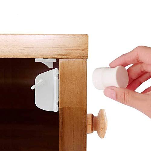 Magnetschloss für Schränke und Schubladen - Baby-/Kindersicherung | 8 Schlösser + 2 Schlüssel | Befestigung ohne Schrauben (inkl. Schrauben als alternative Befestigungsmethode)