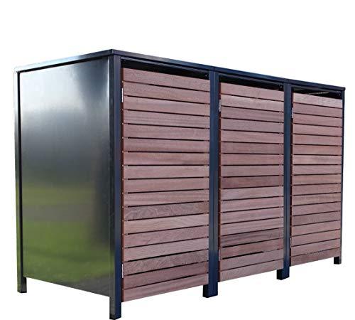 3X Premium 120 Liter Tailor Mülltonnenboxen/Farbe Anthrazit/Tür-Edelholzl/Verschönern Sie Ihre unansehnliche Mülltonnen in Ihrem Hof und Garten!