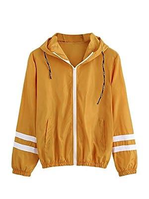 SweatyRocks Women's Colorful Splash Printing Zip up Windbreaker Jacket with Hood (Small, Mustard) from