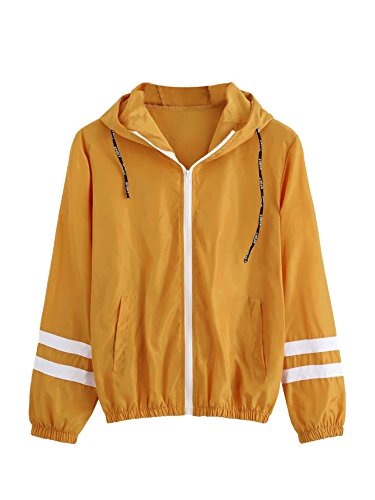 SweatyRocks Women's Colorful Splash Printing Zip up Windbreaker Jacket with Hood (Medium, Mustard)