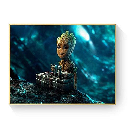 H/L Baby Groot Movie Character Canvas Art Painting Posters E Impresiones para La Sala De Estar Imagen De La Pared Decoración del Hogar 40X50Cm (Ti-2423)