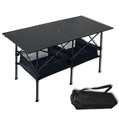 YAHAO Mesa de Camping Plegable con Almacenamiento, Mesa de Picnic para Acampar...