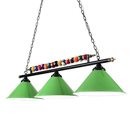 Gpzj Metallkugel Design Billardtisch Licht Billard Lampe für Spielzimmer Bier Party, Industrie Kronleuchter mit 3 Lampenschirmen, Geeignet für Billardtische oder Kücheninsel, Schattenlos (Farbe: ROT)