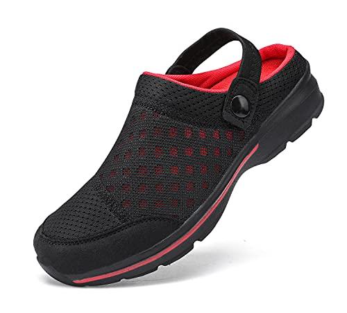 INMINPIN Zuecos Hombre Mujer Zapatillas de Playa Malla Respirable Zapatos de Jardín Ahueca hacia Sandalias de Verano, Negro Rojo, 38 EU