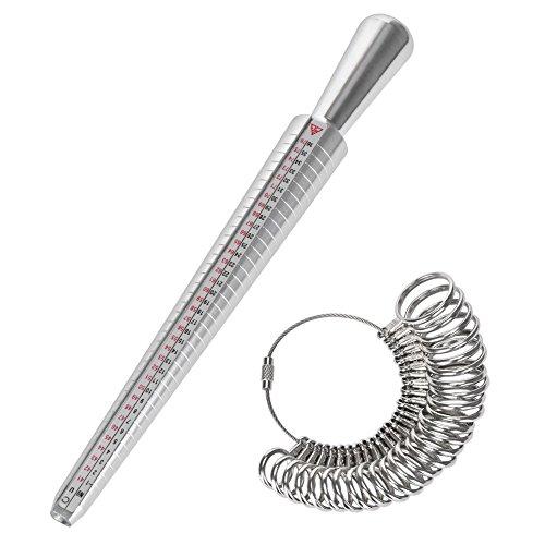 Towinle Baguier Calibreur da 41 a 76 Misura di Dimensioni di Dito Misuratore Anelli Strumento di Anello in Metallo con 3 Echelles di Misura (EU, US, UK)