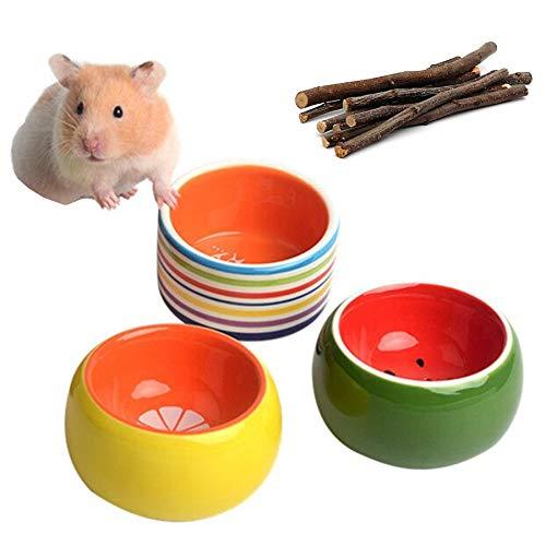 3-Piece Hamster Bowl, Cilkus Ceramic Guinea Pig Water Bowl Small Animal Food Dish for Syrian Hamster Rabbit Gerbil Chinchilla Hedgehog Sugar Glider Rat (Yellow)