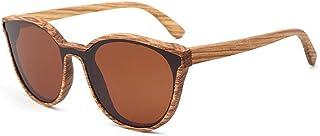 GDYX - Gafas de sol Nuevas gafas de sol de madera maciza para hombres y mujeres gafas de sol redondas de bambú, lentes polarizadas con marco de madera retro de cebra con caja de madera lente marrón