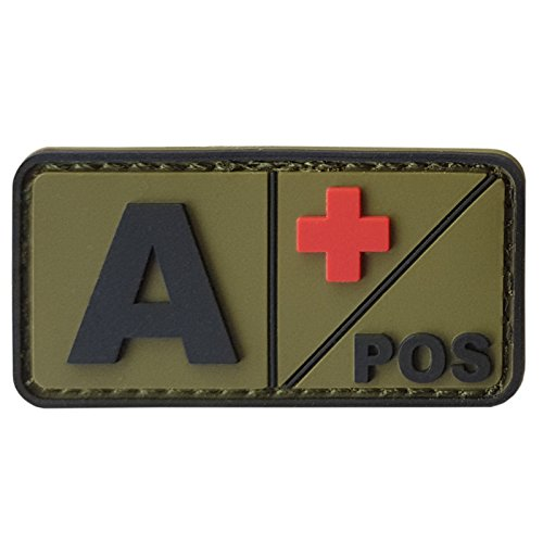 2AFTER1 APOS Olive Drab OD Blood Type Morale Tactical PVC Rubber 3D Touch Fastener Patch