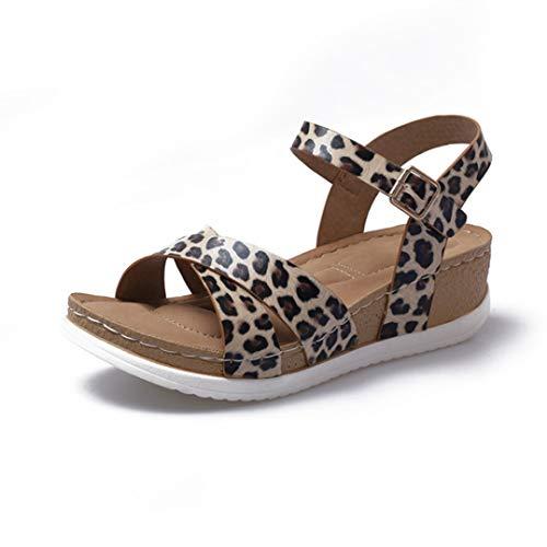 Sandalias Peep-Toe para Mujer Corbata Cruzada Python Leopard Wedge Heel Strap Strap Retro Suede Leather Vintage Tobillo Strap Strap