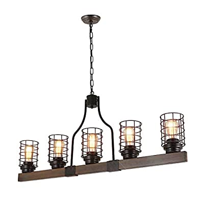 "Eumyviv Farmhouse Cage Rustic Chandelier Kitchen Island 5 Lights, 42""L Large Linear Industrial Pool Table Pendant Lighting Vintage Edison Ceiling Light Fixture, Brown & Black(C0073)"