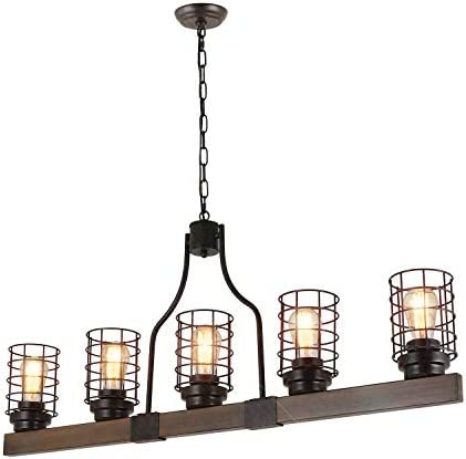 Eumyviv Farmhouse Cage Rustic Chandelier Kitchen Island 5 Lights 42 L Large Linear Industrial product image