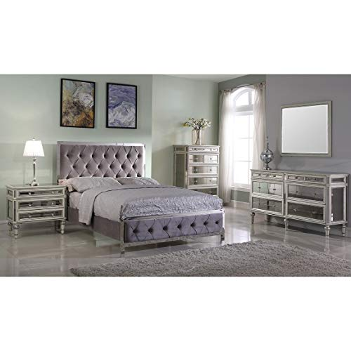 Best Master Furniture Tufted Upholstered Panel Bed Grey California King