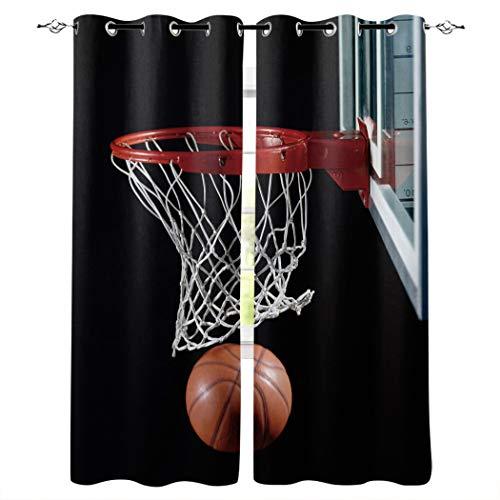 Knight Dream - Cortinas opacas con ojales plateados, diseño 3D de baloncesto con aro aislante térmico para oscurecer ventanas para dormitorio/puerta de cristal deslizante, poliéster y mezcla de poliéster, Baloncesto5, 52x90inx2