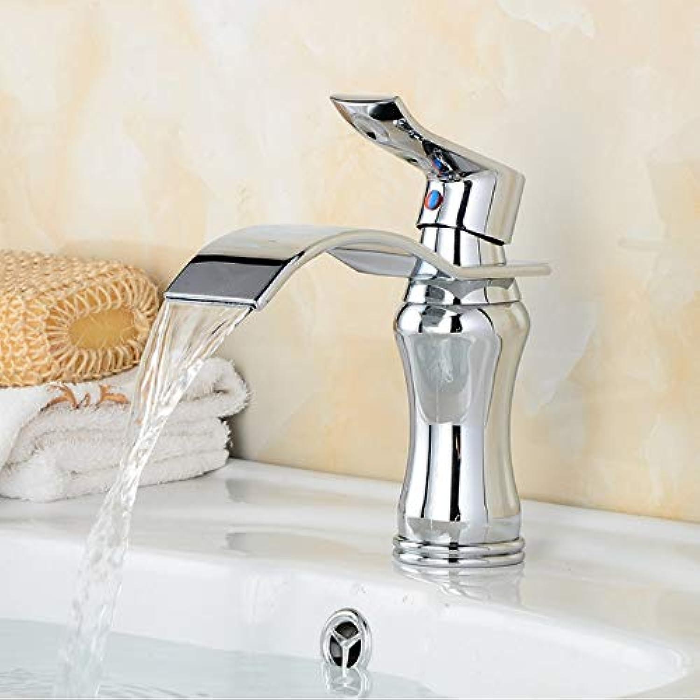 Lddpl Wasserhahn Bad Wasserfall Wasserhahn Messing Verchromt Oberflche Waschbecken Wasserhahn Deck Montiert Waschbecken Waschtischmischer