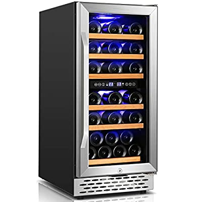 Wine Cooler Nictemaw 15 Inch Dual Zone Beverage Refrigerator, 32 Bottle Built-in or Freestanding Wine Refrigerator with Electronic One-Touch Control&Temp Memory?40°F-65°F)&LED Display Wine Fridge