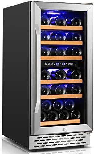 Wine Cooler Nictemaw 15 Inch Dual Zone Beverage Refrigerator 32 Bottle Built in or Freestanding product image