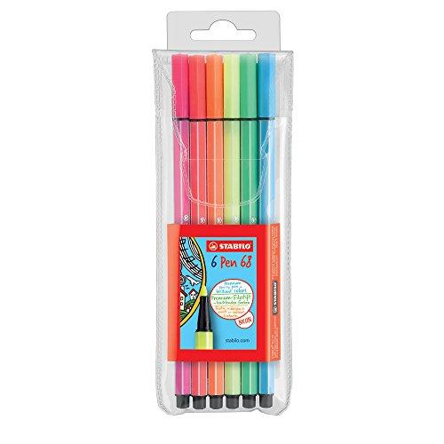 Filzstift Stabilo Pen 68 Set neon, 6St. 1mm, auf Wasserbasis