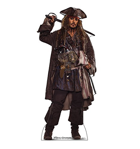 Cardboard People Jack Sparrow Life Size Cardboard Cutout Standup - Pirates of The Caribbean: Dead Men Tell No Tales (2017 Film)