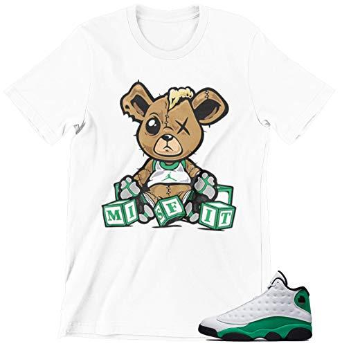 Jordan Lucky Green 13s Shirt to Match (Jordan 13 Lucky Green Misfit White, Small)