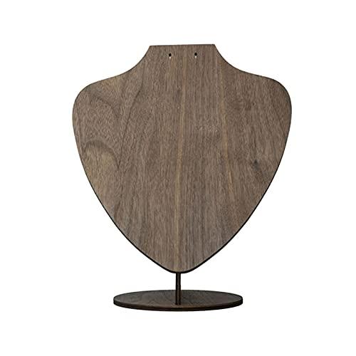 Joyería de soporte de pantalla Pendientes de madera maciza Collar Pantalla Busto Busto Negro Tablero de nuez Joyería Pantalla Pantalla Colgante Collar Pendientes Pantalla Pantalla Titular collar