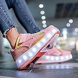 Niños Niñas Zapatos De Patines De Ruedas LED Con Ruedas Zapatillas De Deporte Con Luz LED Zapatillas De Skate Técnicas De Doble Rueda Con Carga USB Unisex C,32