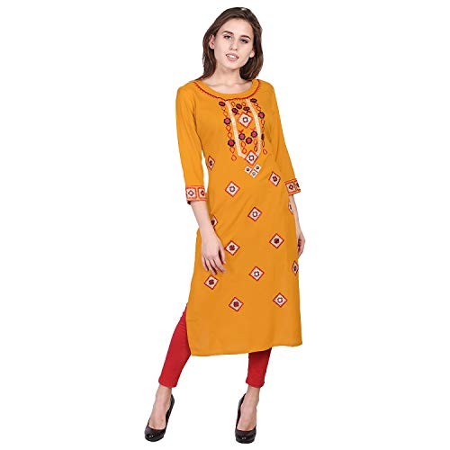 VIHAAN IMPEX Rayon Straight Embroidered Mirror Work Printed Kurtis For Women Tunic Tops X-Large Yellow