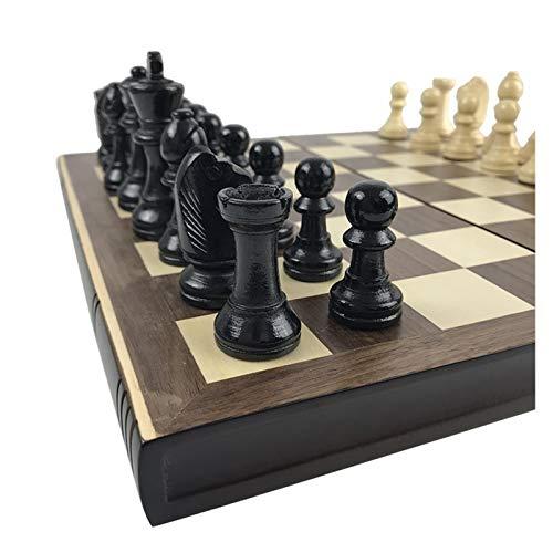 DUOER home Juego de Mesa de ajedrez Libros de Madera Forma de Piezas de ajedrez de Madera Placa Plegable Tabla de ajedrez Box Table Puzzle Juego Chess Set Natural Safe Paint Tablero Juego Regalo