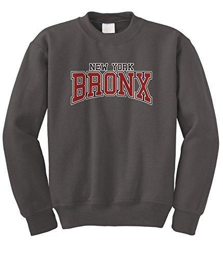 Cybertela New York NY Bronx Crewneck Sweatshirt (Charcoal, Small)