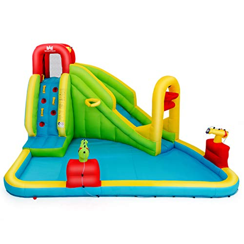 GYMAX Bouncy Water Castle, Inflatable Water Park Slide with Climbing Wall, Water Gun, Basketball Rim, Splash Pool, Including Carry Bag, Repairing Kit, Stakes, 400 x 335 x 230 cm