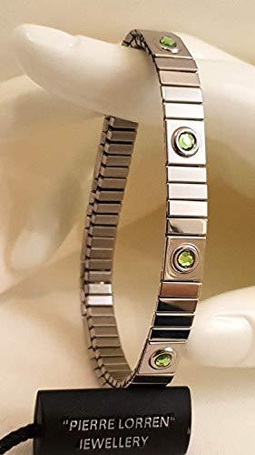 Pulsera de peridoto de plata simple de 8 mm, hecha a mano, 9 gemas de cristal Swarvoski, joyería de agosto, regalo de nacimiento para parejas, pulsera devocional, amistad, boda, compromiso, regalo