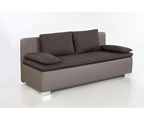 JOB Duett braun/grau Schlafsofa Sofa 2-Sitzer Bettsofa Couch mit Bettfunktion inkl. Aller Kissen 440/09 + 546/08