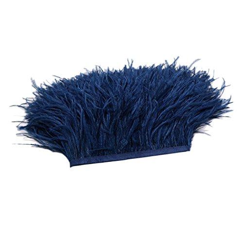 chiwanji Adorno de Flecos de Plumas de Avestruz de 1 Yarda para Decoración de Ropa de Bolso - Azul Oscuro, Individual