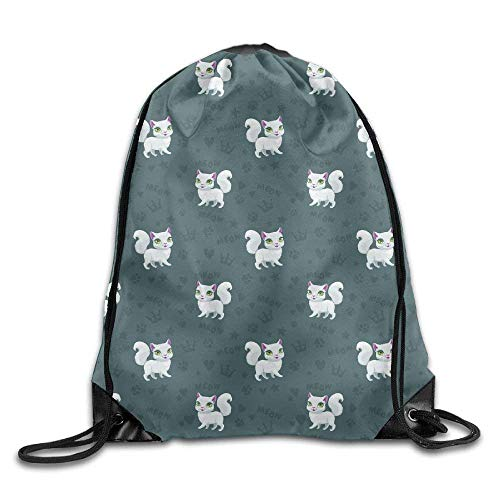 fengxutongxue Pretty White Cats Drawstring Backpack Travel Bag Gym Outdoor Sports Portable Drawstring Beam Port Backpack for Girl Boys Woman Female