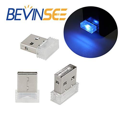 Bevinsee Mini USB Led Light For Car Plug-In 5V Lamp Interior Ambient Lighting Kit,Arctic blue,3pcs