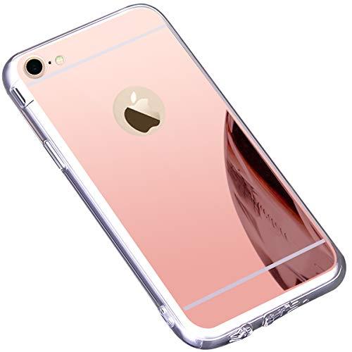 Funda iPhone 7,Funda iPhone 8,Carcasa Protectora [Trasera] de [Tpu] para Móvil En [Con Efecto Espejo] Ultra-Delgado Caras Cubierta Caso Espejo Funda Case Cover para iPhone 7/ 8,Oro Rosa