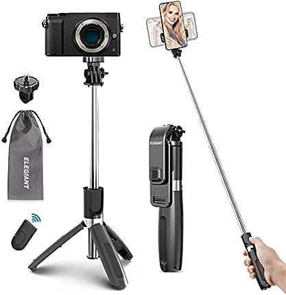 ELEGIANT Palo Selfie Trípode Bluetooth, 4 en 1 Selfie Stick Móvil con Control Remoto Inalámbrico, Deportivo Extensible para Viaje, Monopod con Obturador Rotación para Cámara Deportiva, Android iOS