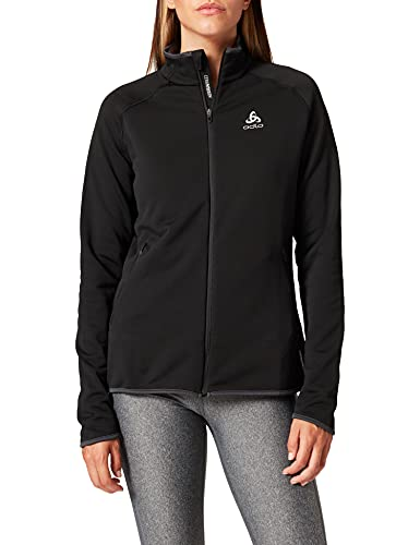 Odlo Midlayer Full Zip Carve Ceramiwarm-Black, Pullover-Femme, femme, 542151-15000, noir, XL