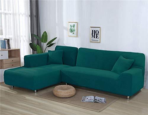 Fundas de sofá Lisas para Sala de Estar Funda de sofá de Forro Polar elástico Funda de sofá de Esquina Funda Protectora de sofá seccional en Forma de L A11 2 plazas