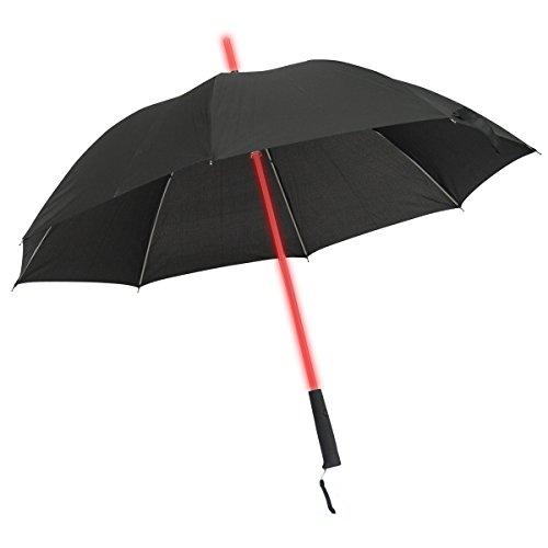 GOODS+GADGETS Leuchtender LED Regenschirm mit 7 Farben und integrierter LED Taschenlampe Leuchtender Schirm Ø 100 cm
