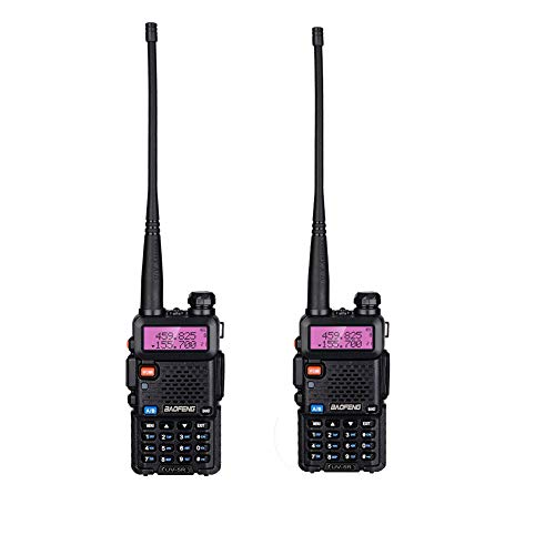 BF-F8HP Walkie Talkie Dual Band 128Channel VHF 136-174/400-520 MHz UHF UV-5R 5W Two Way Radio Walkie Talkie with Earpiece Range from 1.86 to 3.1 Miles Li-ion Battery and USA Charger Included,2 Pack