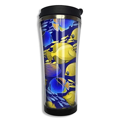 Tasse en acier inoxydable avec joint en silicone pour boissons chaudes et froides Motif océan tropical, bleu et jaune 420 ml