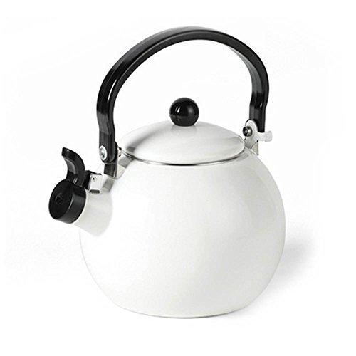TAMUME 2 Litri Piano Cottura Smalto Fischio Bollitori da Fornello Perfetto per tè e Minestra Cucina Bollitore Acqua Gas (Bianca)