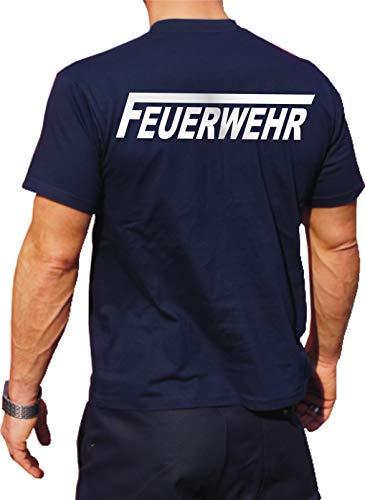 Feuer1 T-shirt fonctionnel Navy avec protection UV 30+, motif pompiers avec long F argenté réfléchissant XXL bleu marine