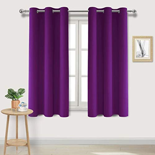 DWCN Blackout Curtains Room Darkening Thermal Insulated Grommet Window Curtain for Bedroom Living Room 38 x 63 Inch, Plum Purple Thick Curtain, Set of 2