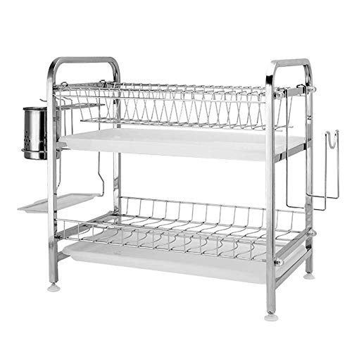 Xuping shop Soporte para palillos, estante de cocina, estante de cocina, estante de almacenamiento de acero inoxidable 304, estante doble (tamaño: C)