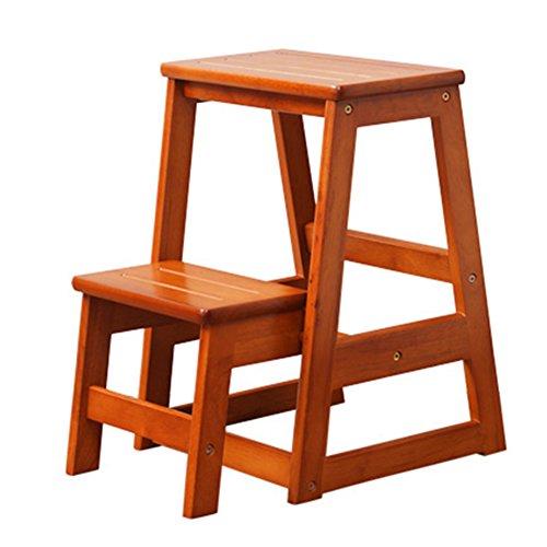 LRZLZY 2-geschossige Schritt Hocker aus Holz Haushaltsleiter Multifunktions Schritt Hocker Küche Anti-Blockier-System Laden 120kg Stabilität und Sicherheit (Color : Honey Color)