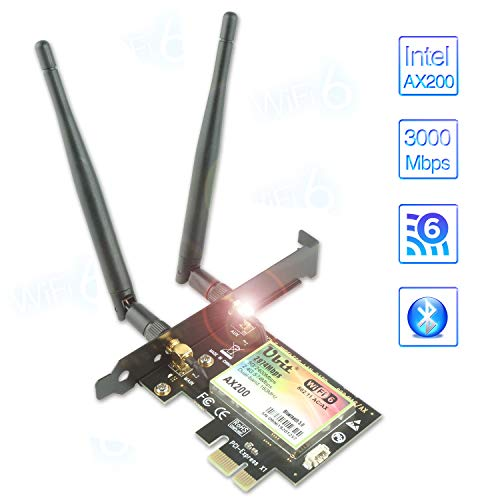 WiFi 6 AX200 PCIe WiFi WLAN Karte | Max 3000Mbit/s mit Bluetooth 5.0 | 802.11AX Dual Band Wireless Adapter mit MU-MIMO,OFDMA,Ultra-Low Latency | Unterstützt nur Windows 10, 64bit